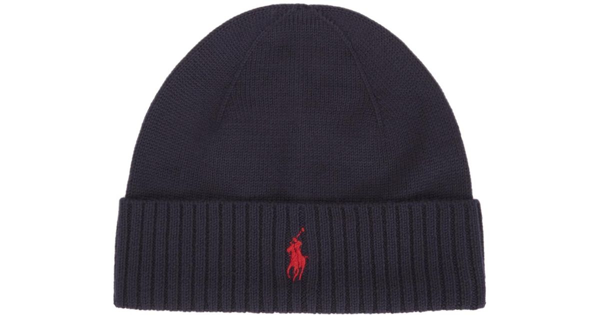 30786ce70ae Polo Ralph Lauren Navy Merino Wool Hat In Blue For Men Lyst