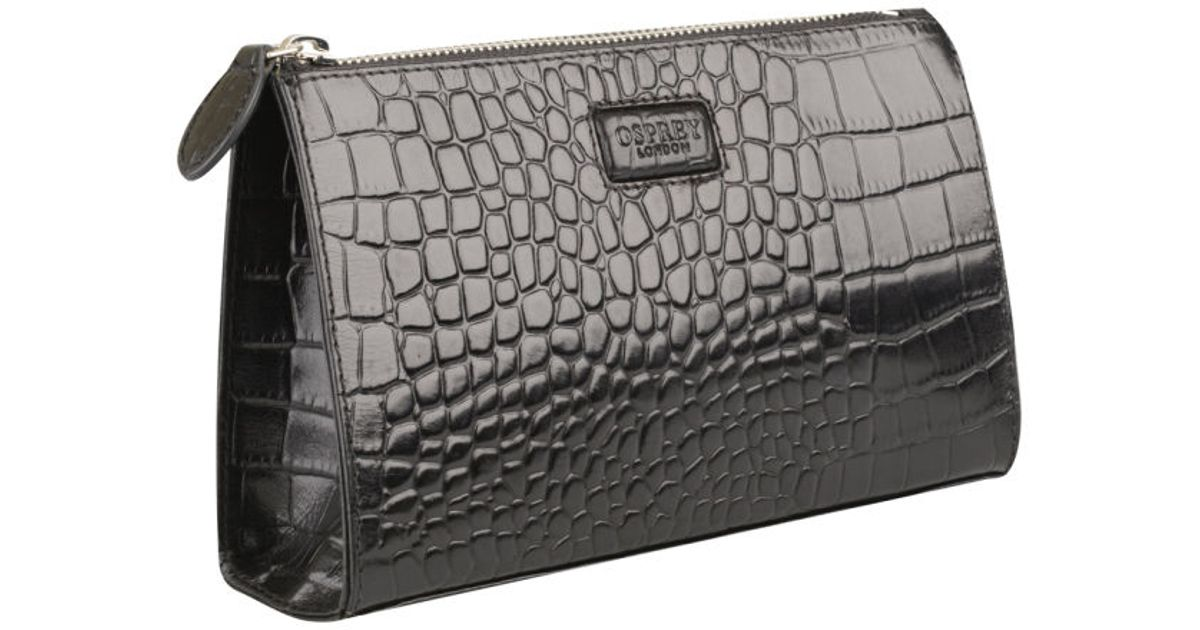 d248603a7299 Osprey London Large Belle Croc Leather Make Up Bag in Black - Lyst