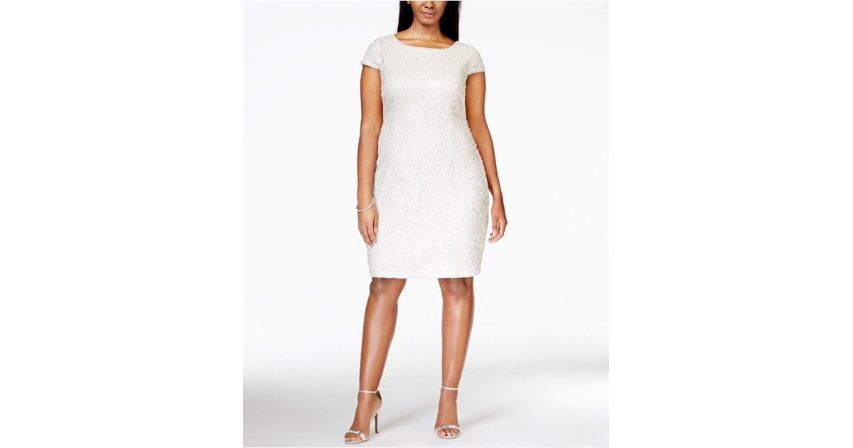 Adrianna Papell White Plus Size Short-sleeve Sequin Dress
