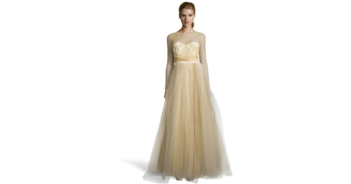 Lyst - Notte By Marchesa Gold Metallic Lace Bodice And Tulle Skirt ...