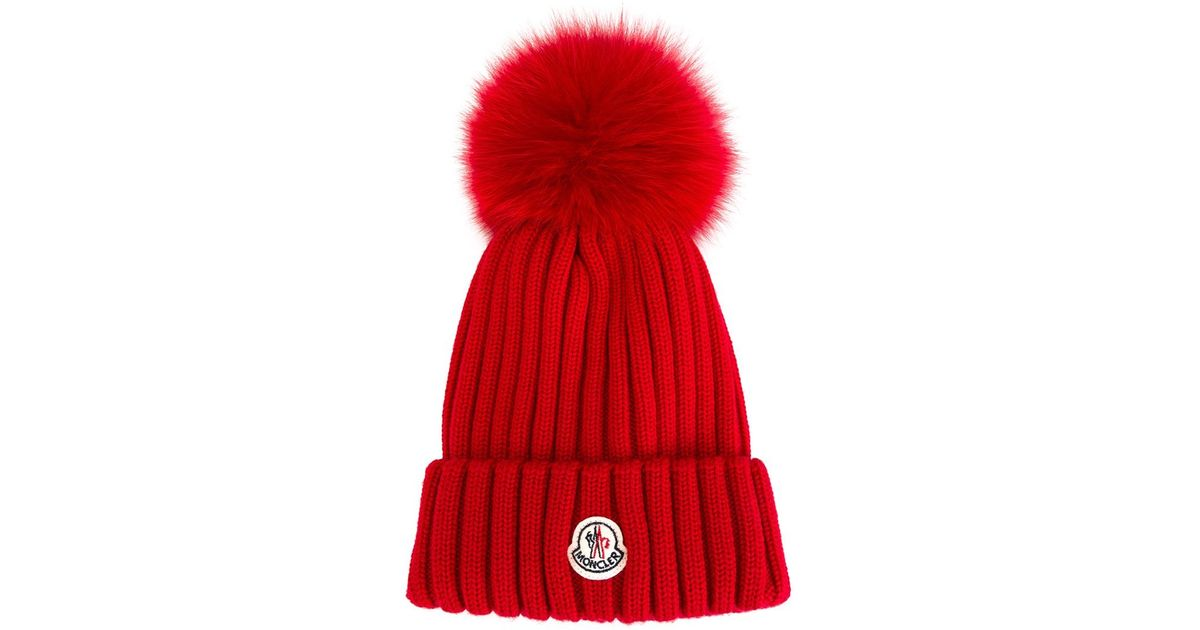 fc5db49359e Lyst - Moncler Bobble Top Beanie in Red