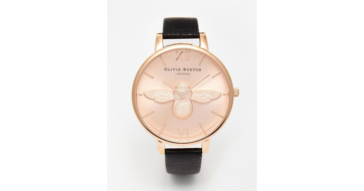 84573e364 Olivia Burton Bee Face Leather Strap Watch in Black - Lyst