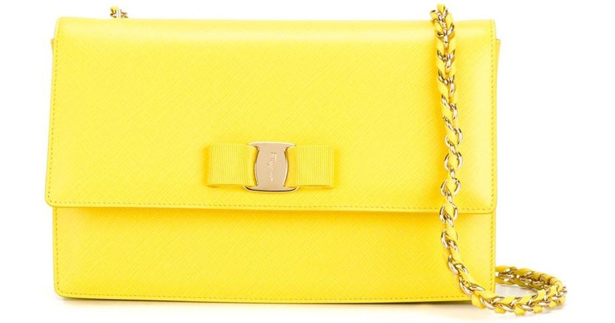 Lyst - Ferragamo Ginny Leather Cross-Body Bag in Yellow d46912b95c122