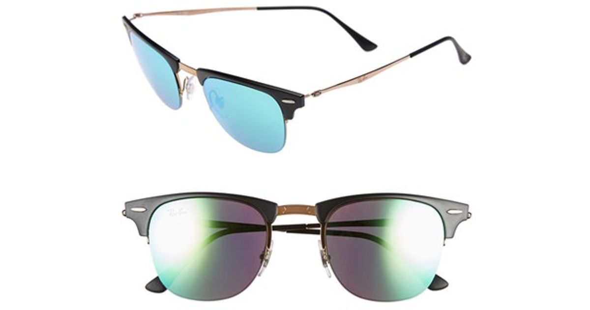 63bffa31c4 ... get lyst ray ban tech light ray 49mm clubmaster sunglasses in brown  db300 0282e