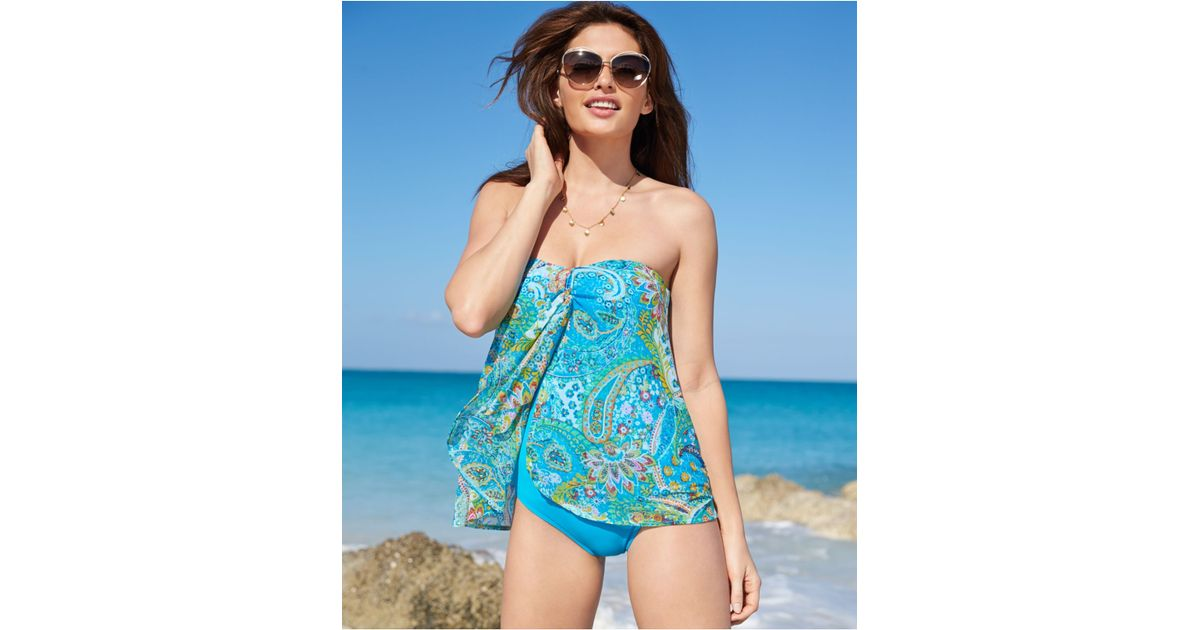 69df6f2c217 Lauren by Ralph Lauren Printed Flyaway One-Piece Swimsuit in Blue - Lyst