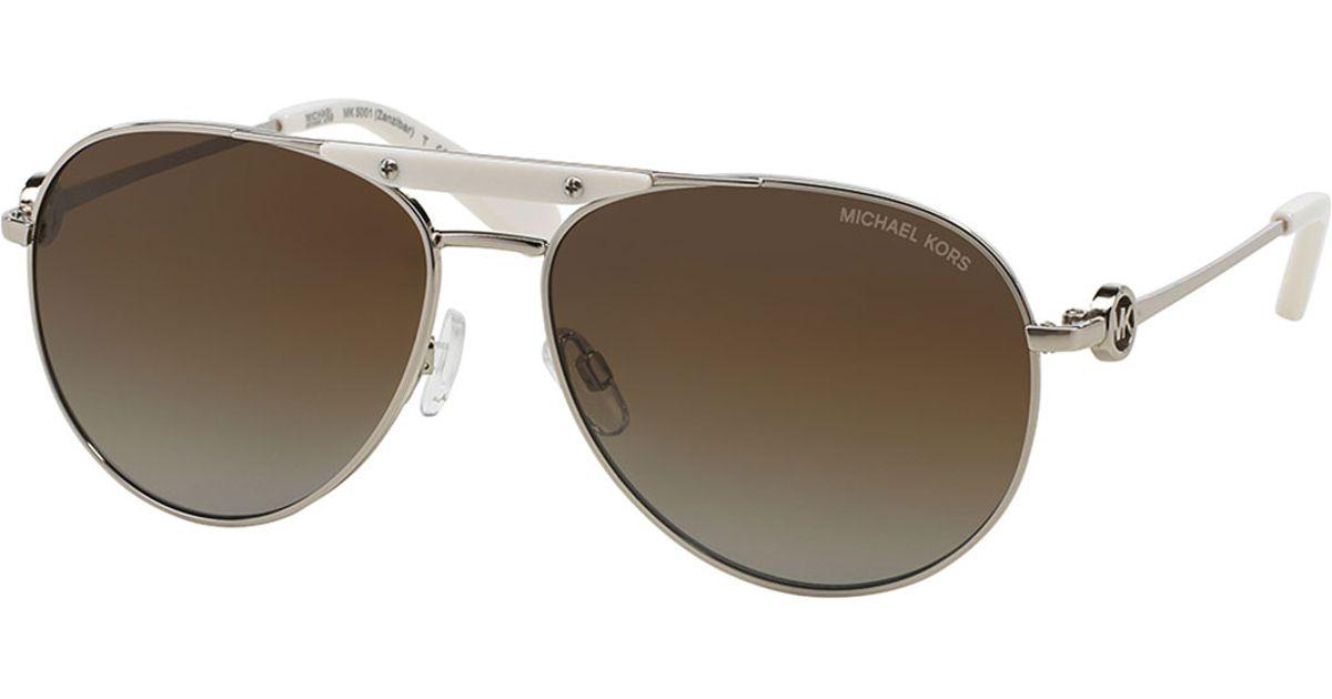 7c3653f077374 Lyst - Michael Kors Zanzibar Polarized Aviator Sunglasses in Metallic