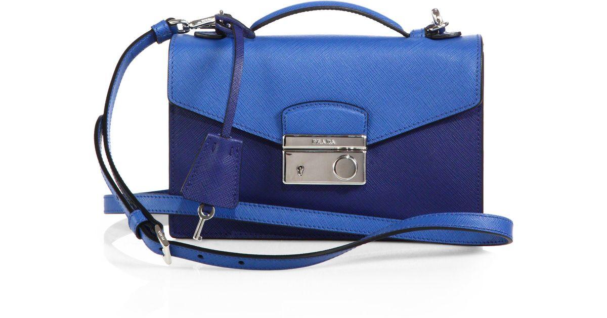 6144ec2e53e Prada Saffiano Lux Bicolor Crossbody Bag in Blue - Lyst