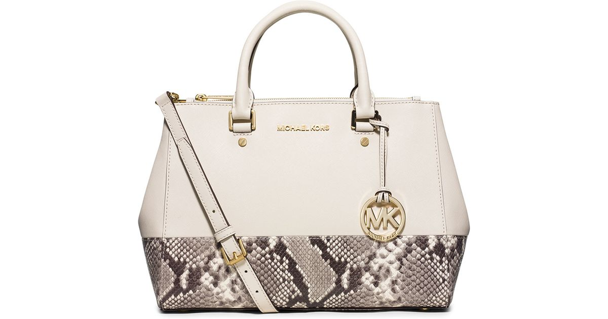 0b05e03e54ee MICHAEL Michael Kors Sutton Medium Satchel Bag in Natural - Lyst