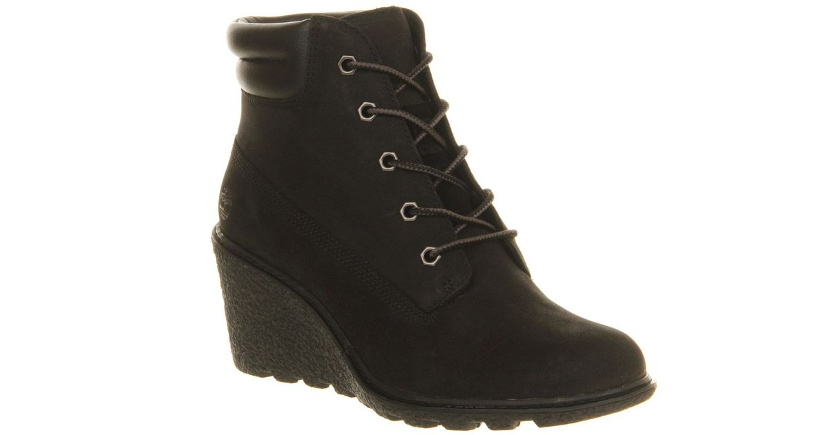 timberland amston 6 inch wedge boots in black save 50