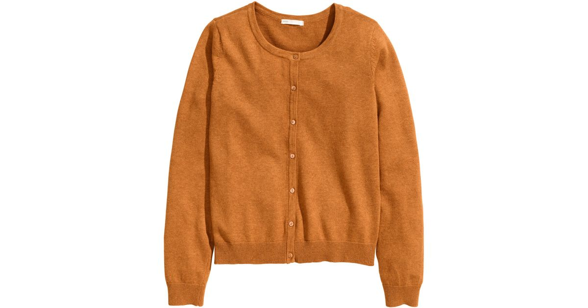 H&m Cotton Cardigan in Orange | Lyst