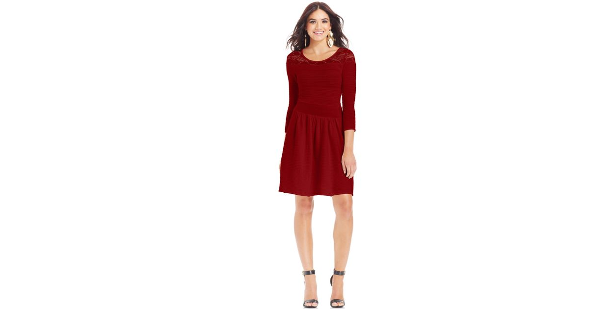 Jessica simpson Opera Ribbed Sweater Dress in Red | Lyst