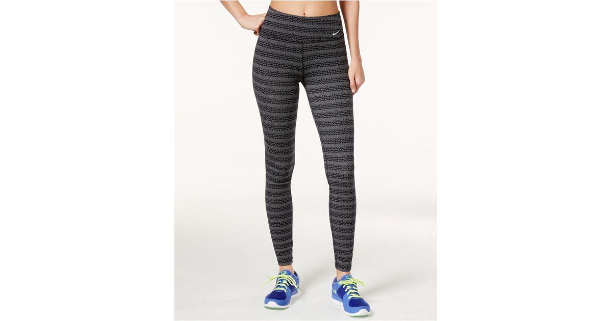 09d37b5231ce7 Nike Legend Dri-fit Zigzag Dot-print Leggings in Black - Lyst