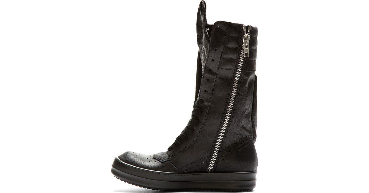 cb5144c8295c Lyst - Rick Owens Black Cargo Basket Boots in Black