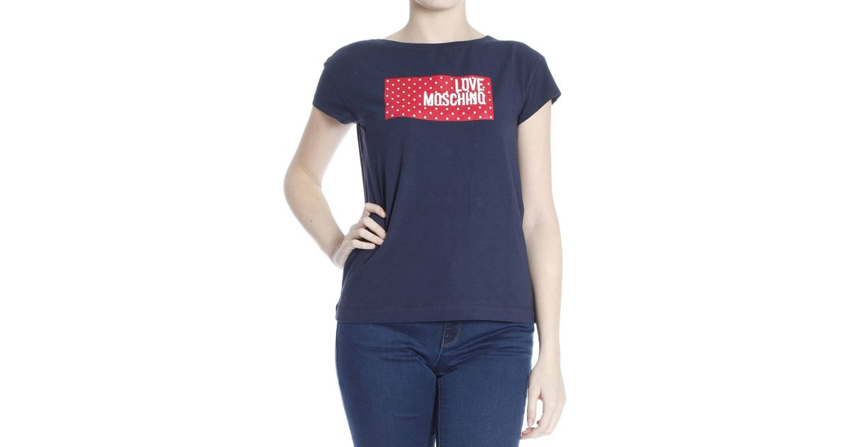 love moschino t shirt in blue lyst. Black Bedroom Furniture Sets. Home Design Ideas