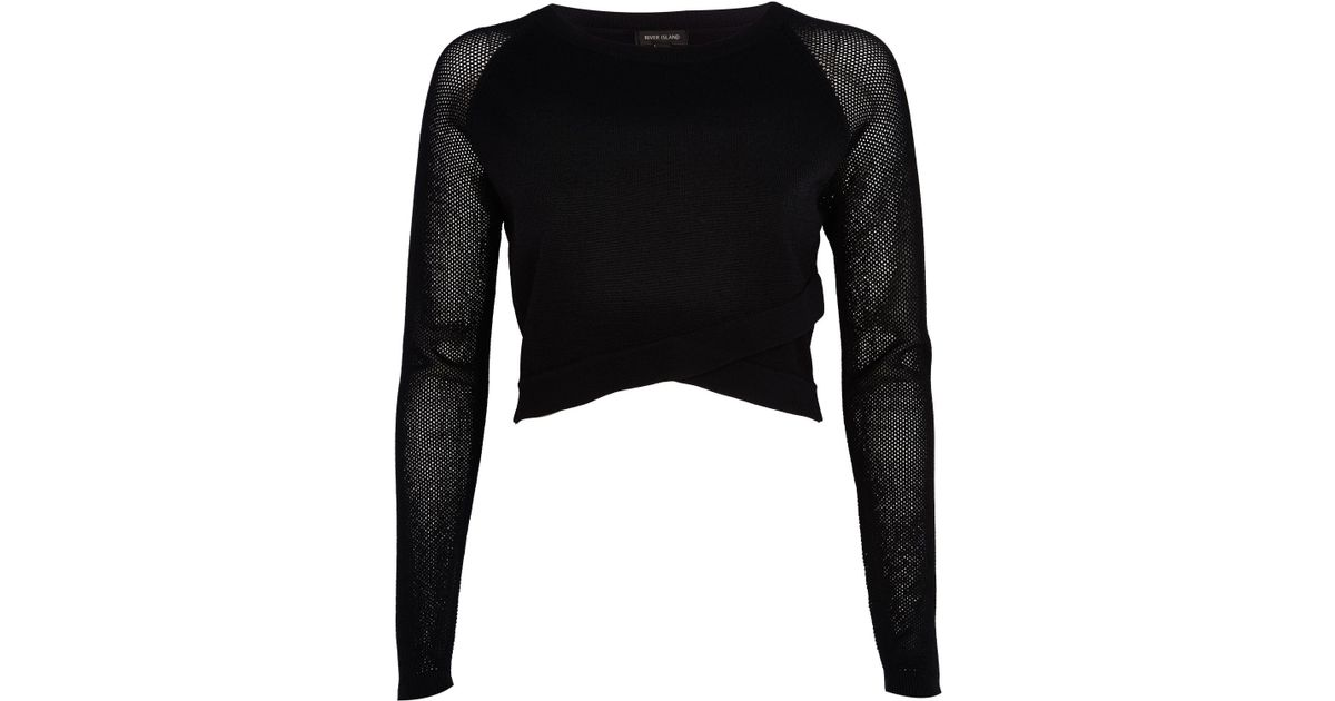 6c853bf09f5b9d River Island Black Wrap Front Mesh Sleeve Crop Top in Black - Lyst