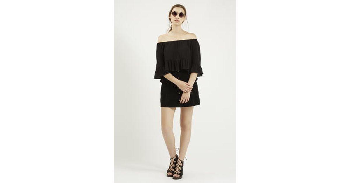 04d52b3ca905b Lyst - TOPSHOP Petite Crinkle Off Shoulder Bardot Top in Black