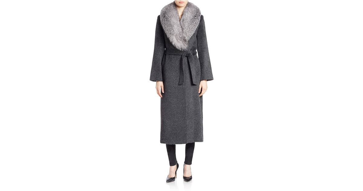 Sofia cashmere Fox Fur-collared Wool And Alpaca Coat in Gray | Lyst