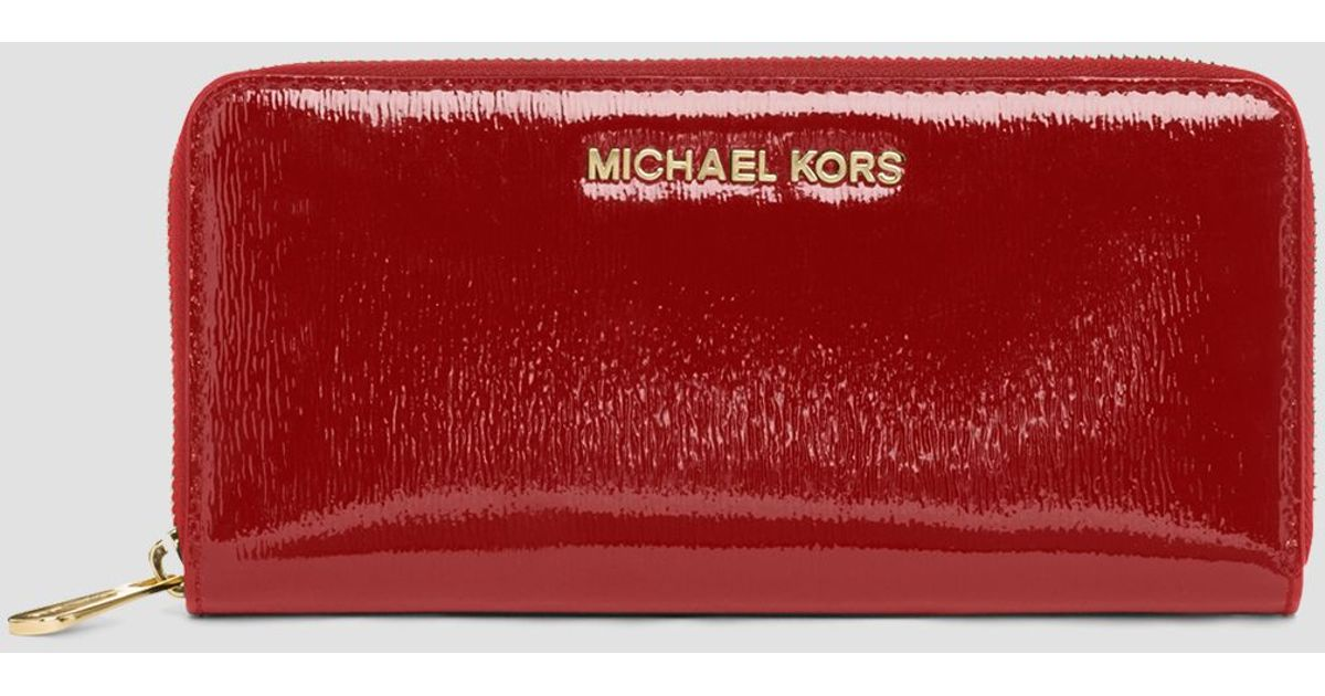 Lyst - MICHAEL Michael Kors Wallet - Zip Around Patent Leather Continental  in Red 1cd0cb0b9374