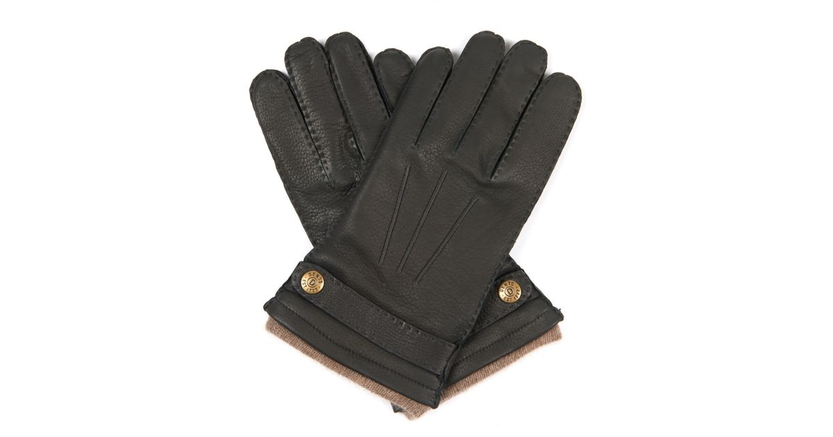 7bdfc2b75 Dents Gloucester Cashmere-lined Leather Gloves in Black for Men - Lyst