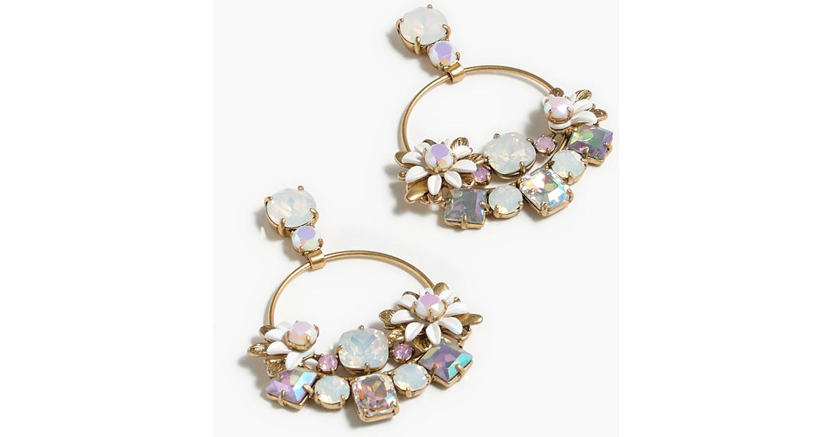 Flower stone earrings in white lyst for J crew jewelry 2015