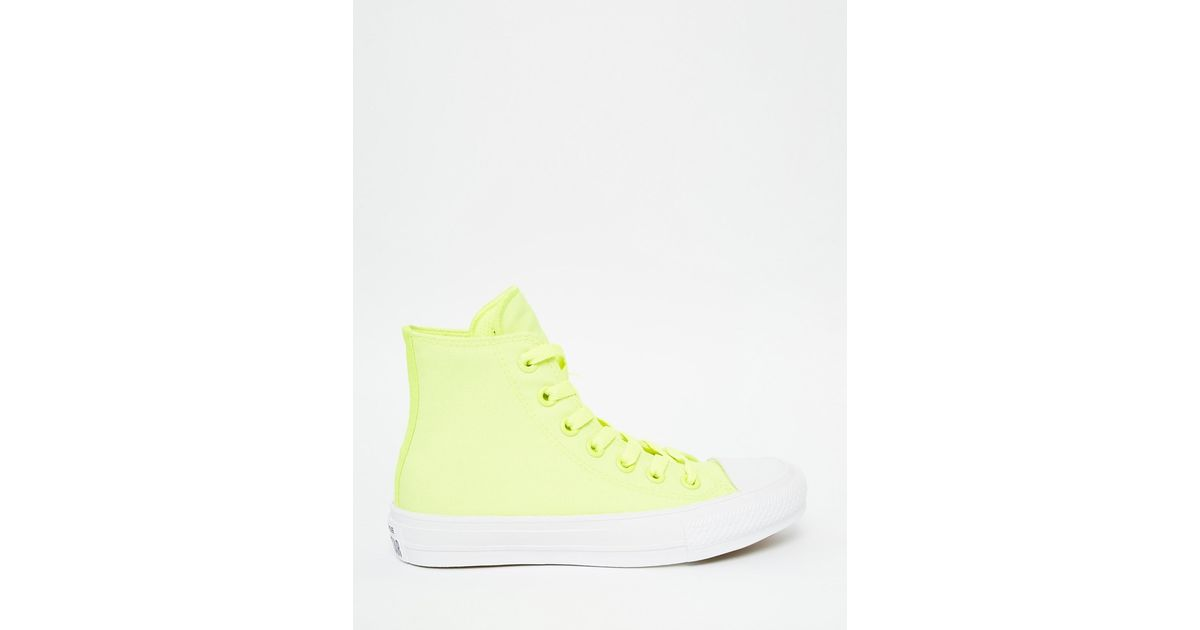 a2d6f4d7b01a8d Converse Chuck Taylor Ii Neon Yellow Hi Top Trainers in Yellow - Lyst