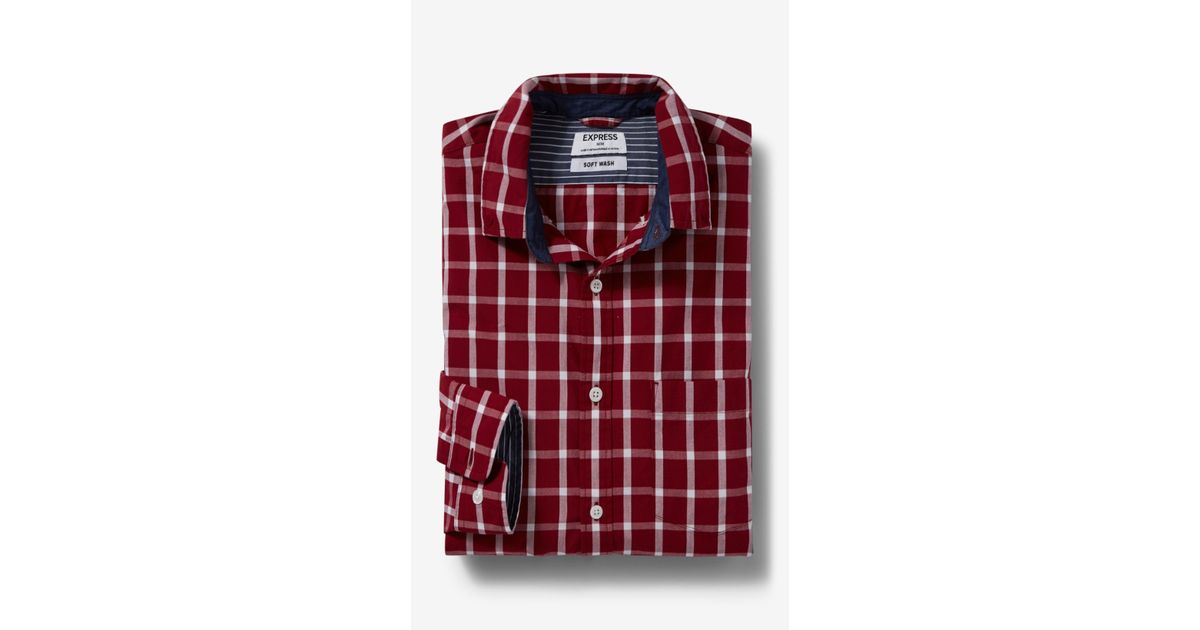 Express soft wash check shirt in red for men lyst for Express wash roma