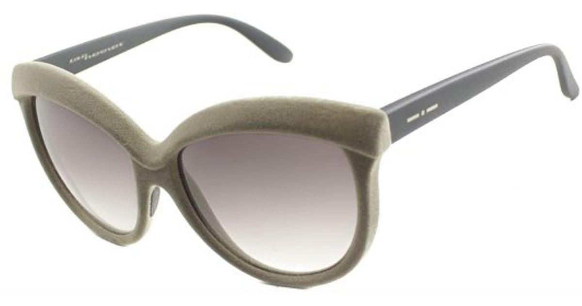 2cf96967902d Lyst - Italia Independent 0092v I-v 041 Velvet Sand Plastic Butterfly  Sunglasses Brown Gradient Lens in Green