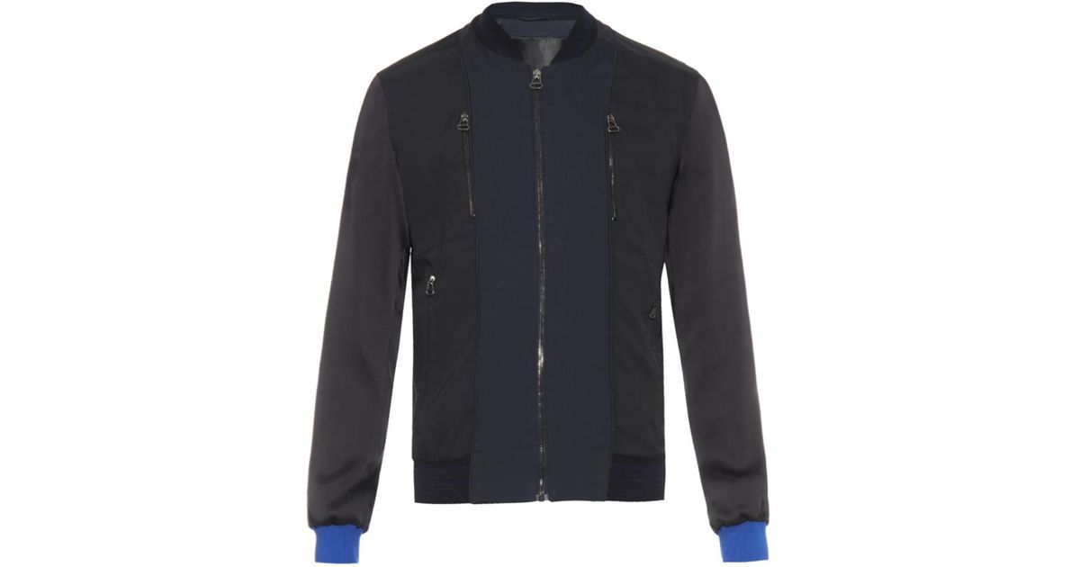 Lanvin contrast panel bomber jacket for men lyst