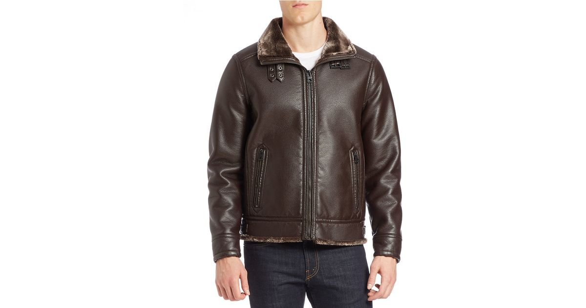 Guess Faux Fur Lined Bomber Jacket In Brown For Men Lyst