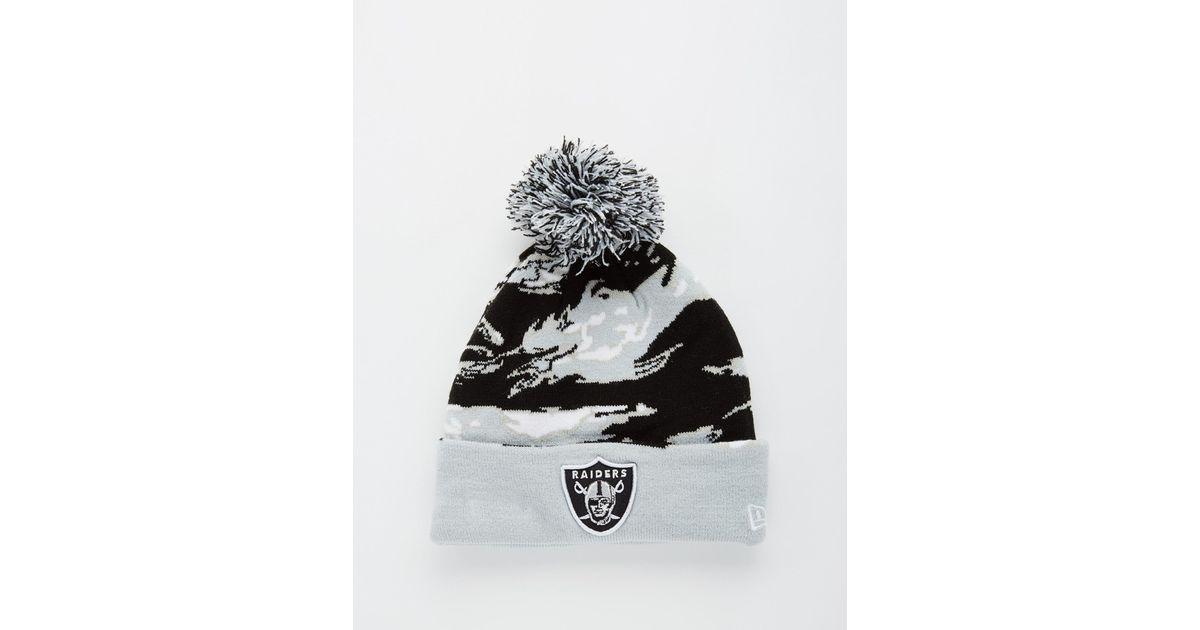 KTZ Raiders Camo Bobble Hat - Black in Black for Men - Lyst 84ce84ba282