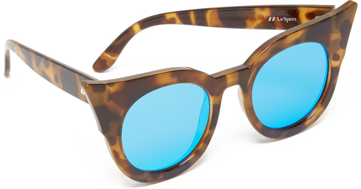 02937fd1a76 Lyst - Le Specs Flashy Flat Mirrored Tortoise Sunglasses in Brown