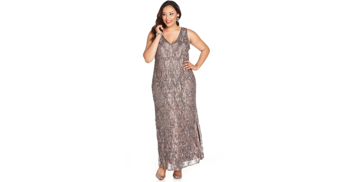 Lyst Pisarro Nights Plus Size Embellished Lace Gown In Metallic