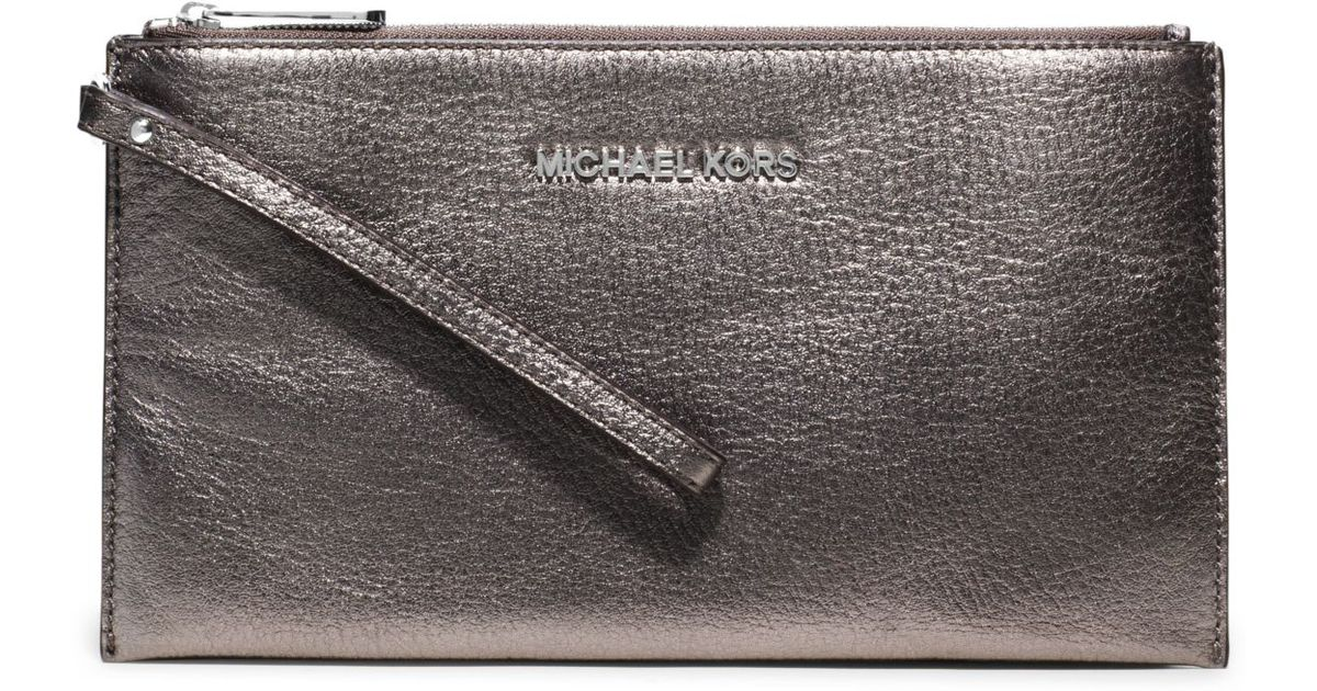 michael kors bedford large metallic leather wristlet in. Black Bedroom Furniture Sets. Home Design Ideas