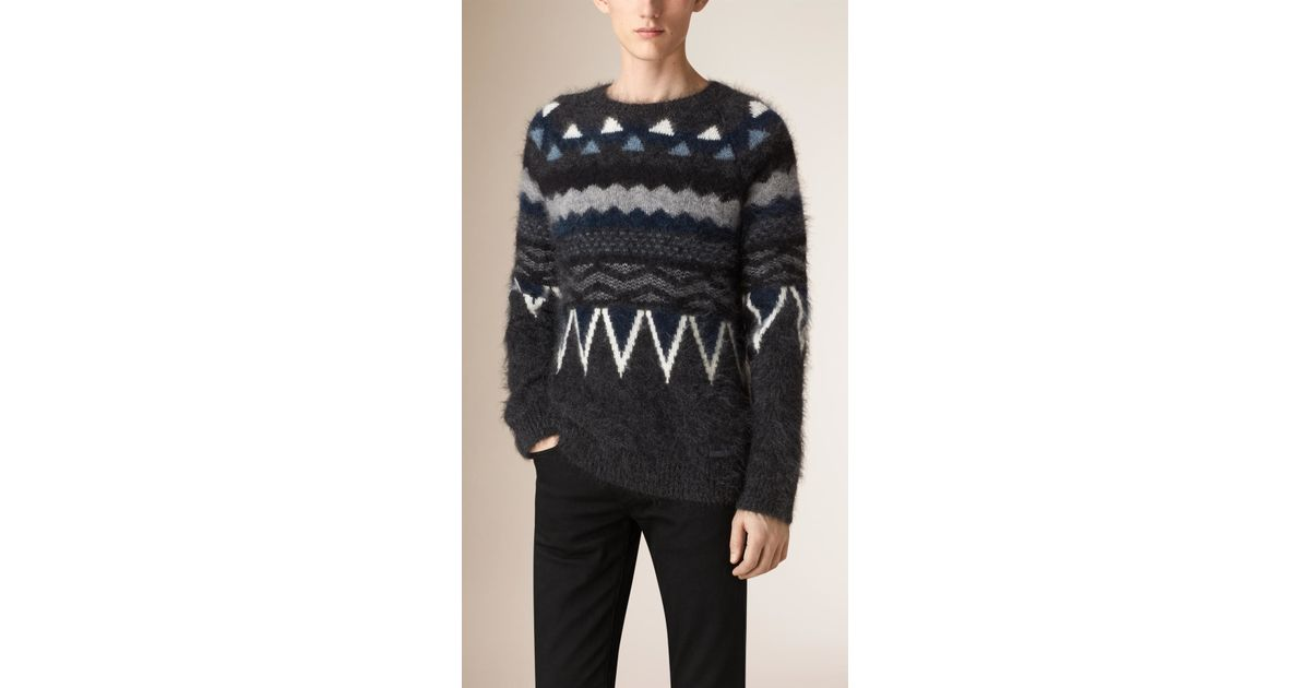 Lyst - Burberry Fair Isle Mohair Wool Blend Sweater in Gray for Men