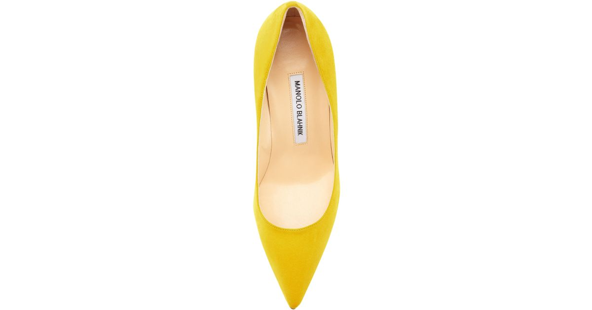 d7889038e1f ... promo code for lyst manolo blahnik bb suede 70mm pump in yellow d733d  fb042