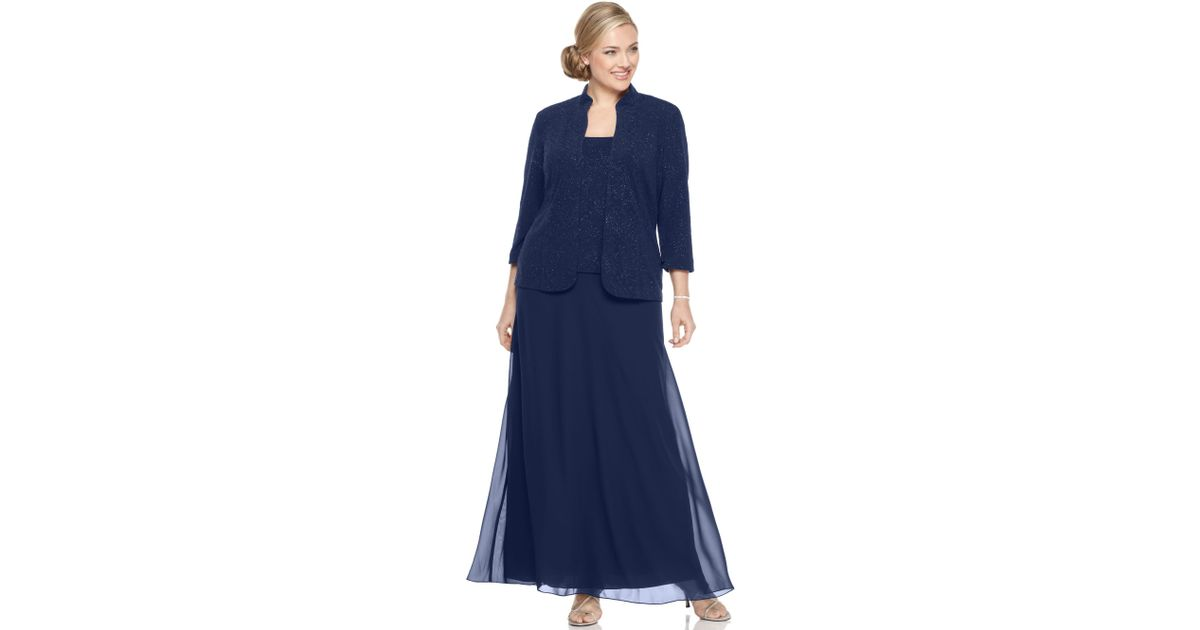 Lyst - Alex Evenings Plus Size Glitter Gown and Jacket in Blue