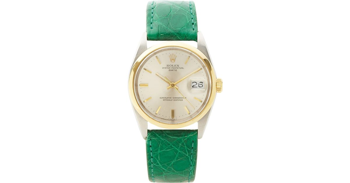 89d421445bd CMT Fine Watch And Jewelry Advisors Rare Vintage Rolex Tt Date Twotone with  Green Crocodile Band in Green - Lyst