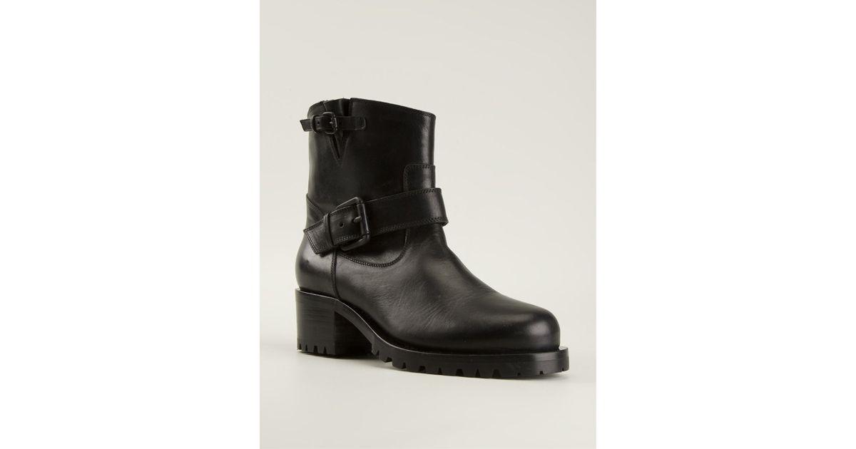 L\'autre chose Heeled Biker Boots in Black | Lyst