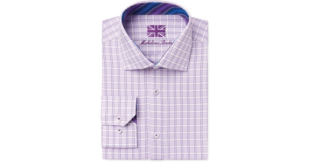 Michelsons Of London Men 39 S Slim Fit Lilac Check Dress