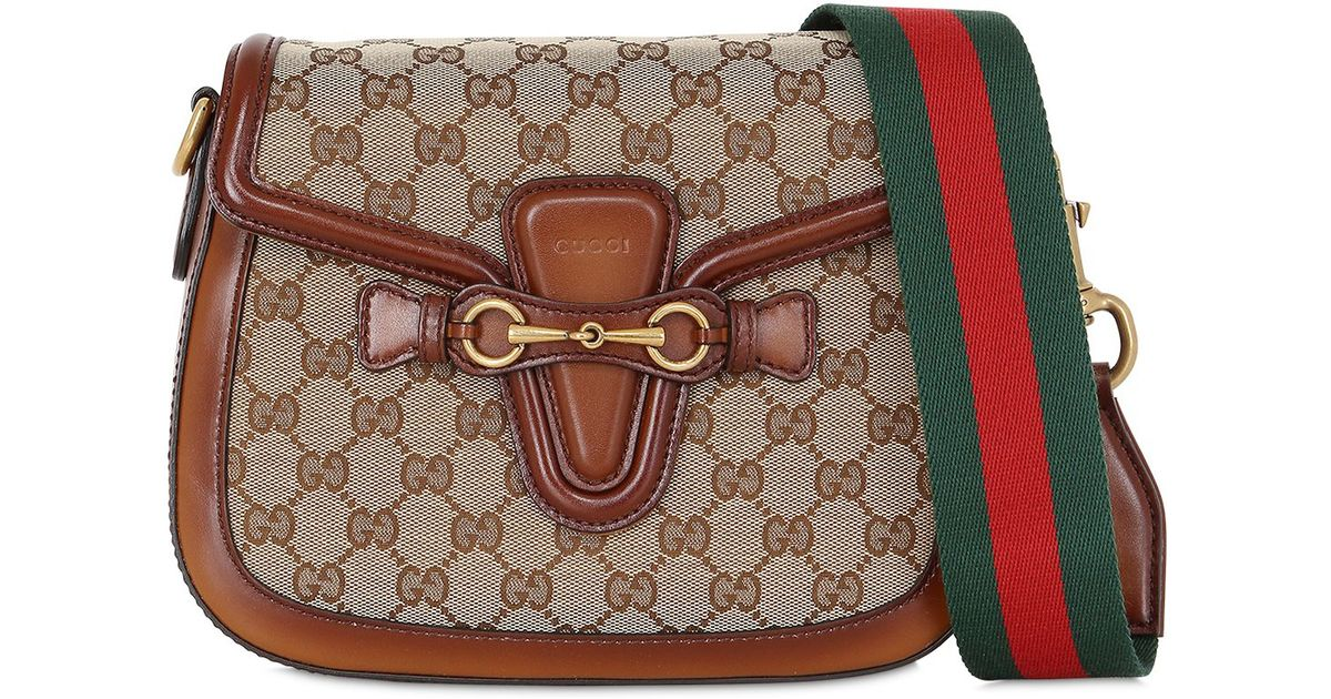 9018eb7fc19b61 Gucci Medium Lady Web Gg Supreme Shoulder Bag in Brown - Lyst