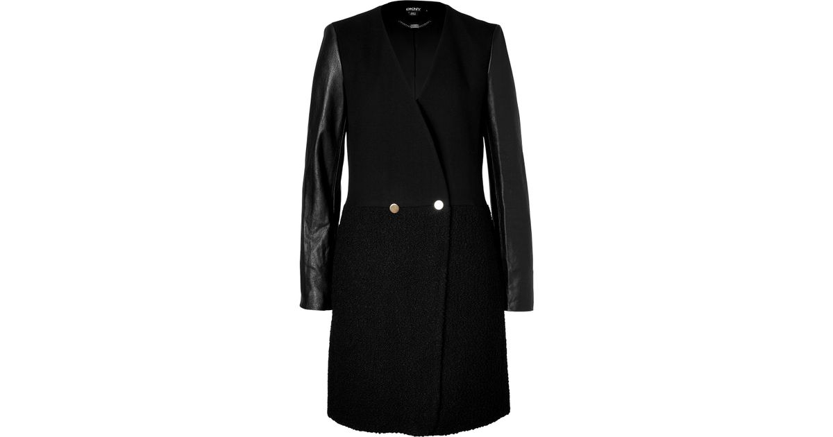 2ada6534397 Lyst - DKNY Wool Boucle Coat With Leather Sleeves In Black in Black