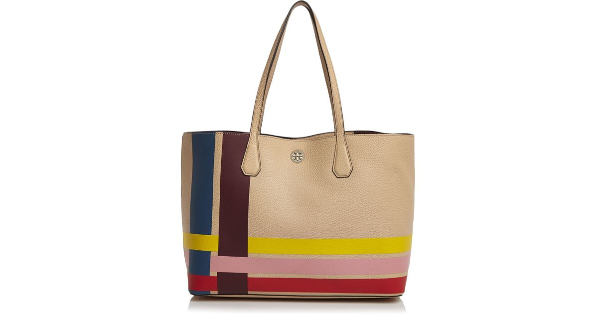 d92076842a4 Lyst - Tory Burch Multi-color Stripe Perry Tote in Brown