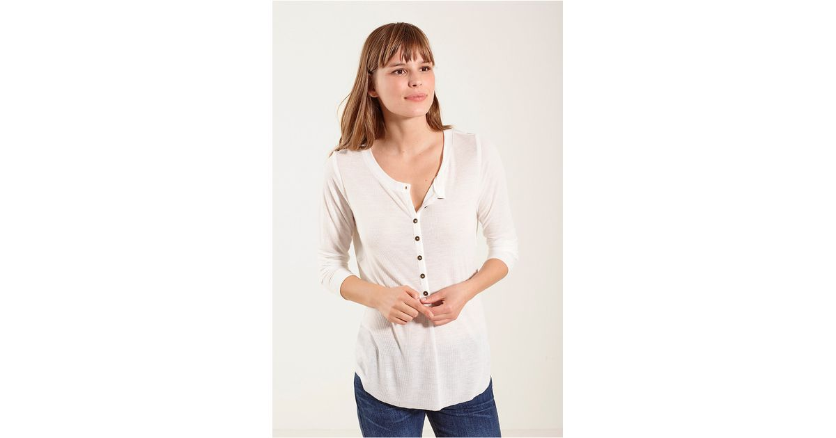 True religion military womens henley shirt in white white for Women s cotton henley shirts