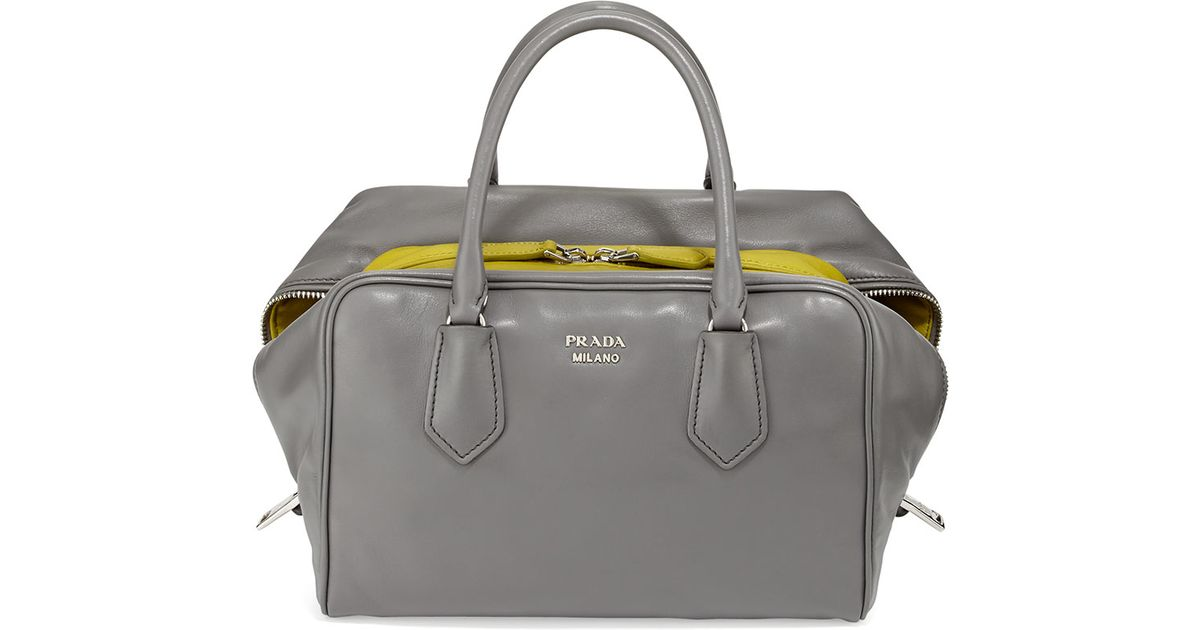 Prada Soft Leather Medium Inside Bag in Gray | Lyst