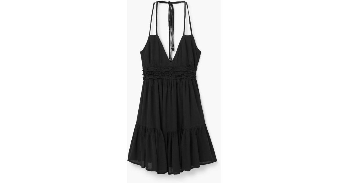 Mango Ruffle Skirt Dress in Black - Save 50% | Lyst