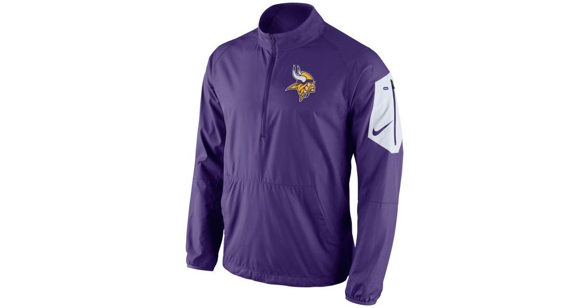 d5f212368 Lyst - Nike Men s Minnesota Vikings Lockdown Half-zip Jacket in Purple for  Men