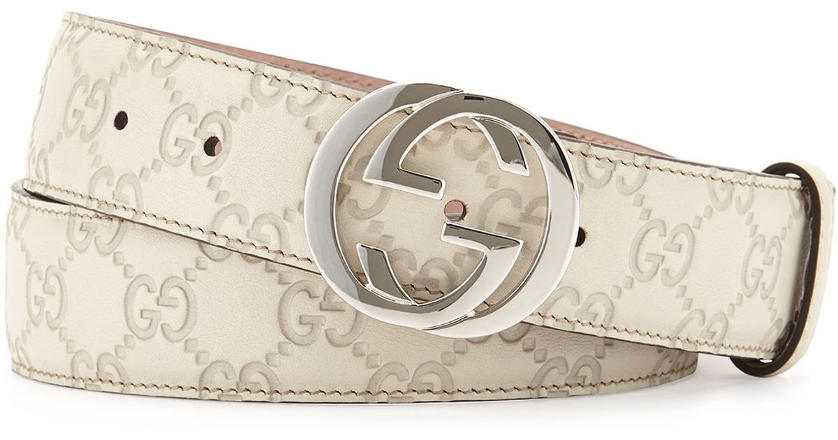 Gucci Interlocking G-buckle Leather Belt in White (MEDIUM ...