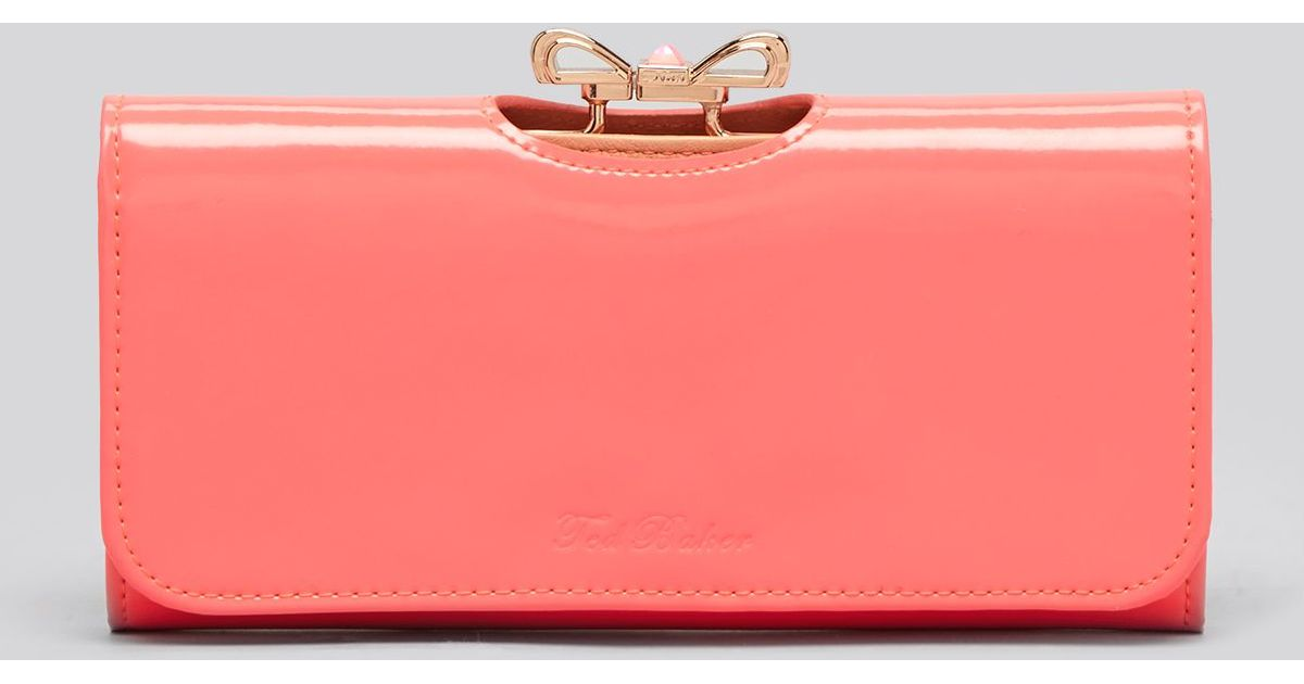 9642775320055a Lyst Ted Baker Wallet Crystal Bow Bobble Matinee Continental In Pink