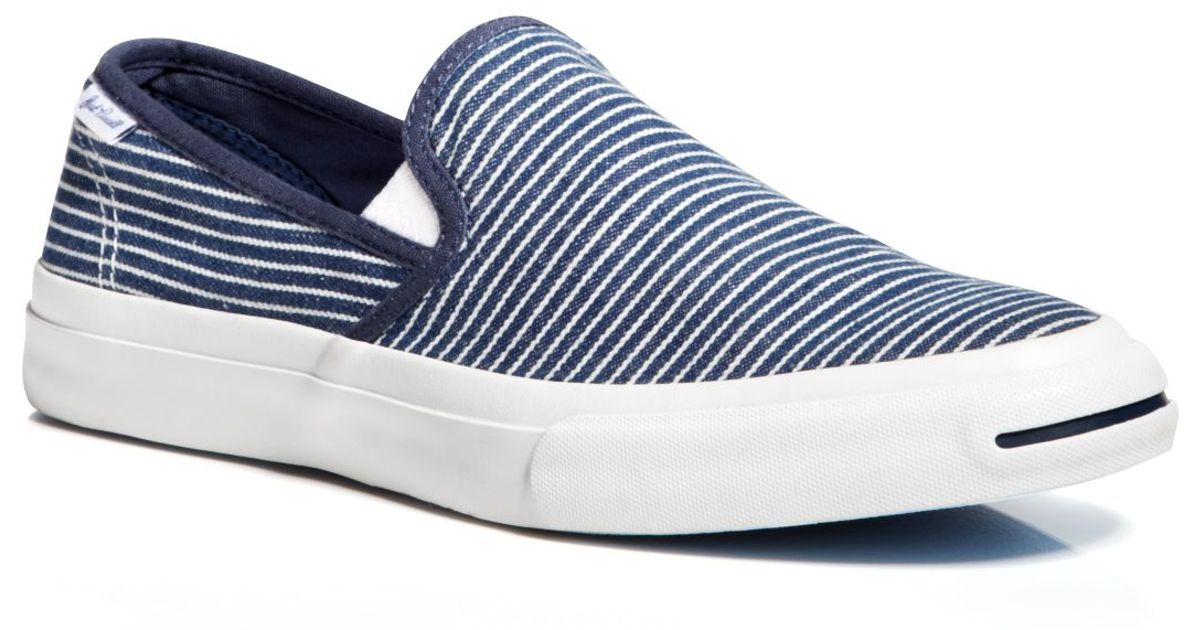 e798c3c5f3db92 Lyst - Converse Jack Purcell Ii Striped Slip On Sneakers in Blue for Men