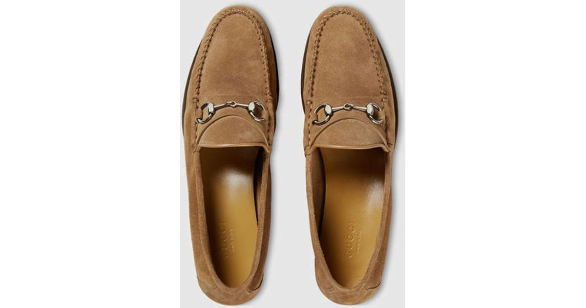 8331166ff20 Lyst - Gucci Suede Horsebit Loafer in Brown